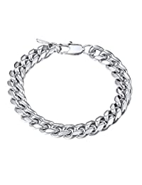Cuban Chain Bracelet Men 316L Stainless Steel 10MM Wide Big Hand Chain 19cm Bracelet Men Jewelry Gift for Him PSH2910G-19
