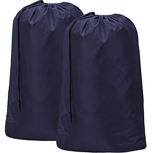 HOMEST 2 Pack Extra Large Travel Laundry Bag [28''x40''] Machine Washable Sturdy Rip-Stop Material Drawstring Closure, Blue