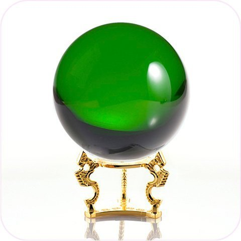 Crystal Balls Gifts (Amlong Crystal Green Crystal Ball 110mm (4.2 in.) Including Golden Dragon Stand and Gift Package)