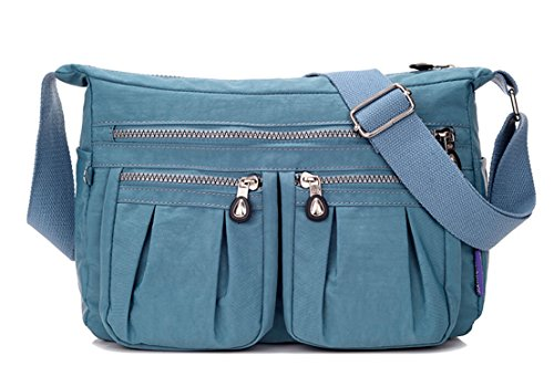Casual Para Mujer Cuerpo Mensajero Niñas Bolsa Nylon De Para Diseño De Color Cruzada De Bolsillos Claro Hombro Tianhengyi De Múltiples Azul De Bolsa AtCqxwaAT