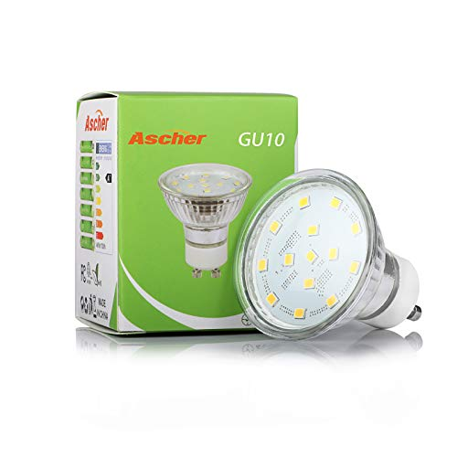Ascher GU10 LED Light Bulbs, 50W Halogen Bulbs Equivalent, 4W, 400 Lumens, Non-Dimmable, 5000K Daylight White,120° Beam Angle, LED Bulbs for Recessed Track Lighting, GU10 Base, Pack of 5