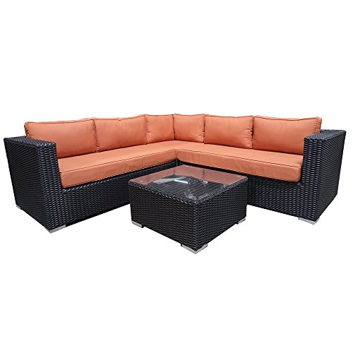 Outdoor Patio Sofa Wicker L Shaped Couch with Table and Cushions by Sunluck