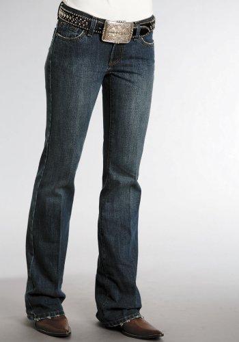 (Stetson Classic Boot Cut Dark Stone Wash Ladies Collection- Jean (16W x 38L) 11-054-0594-0060BU Blue)