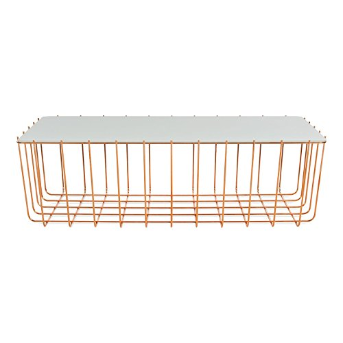 Blu Dot Scamp Large Table, Copper Base - White Painted Glass Top
