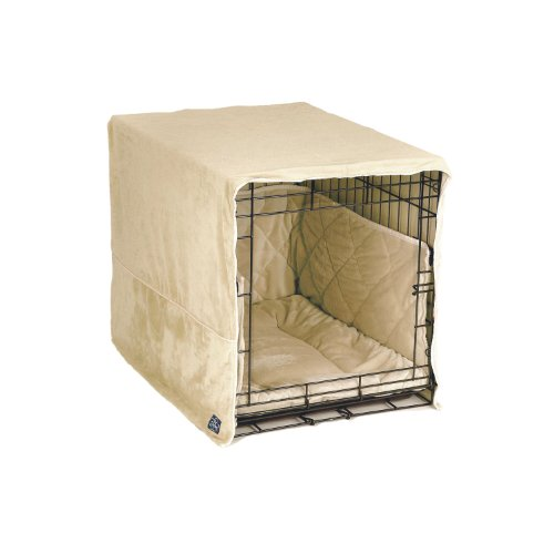 Complete 3 Pc Dog Crate Bedding Set includes Crate Pad, Crate Cover and Bumper - Ivory Cream- Small 24' by Pet Dreams
