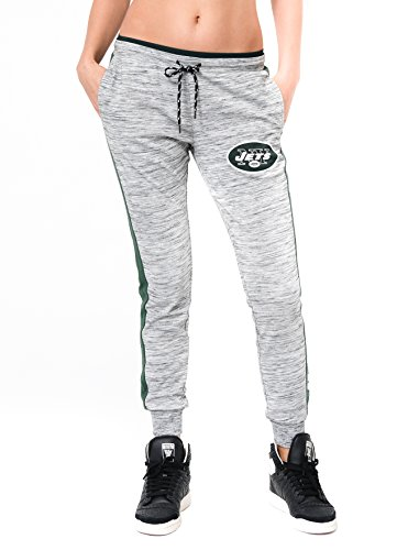 Ultra Game Womens NFL Active Basic Fleece Jogger Sweatpants, New York Jets, Gray Space Dye, Large