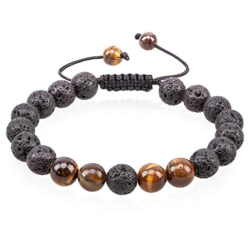 (Romavida Anxiety Lava Stone Diffuser Bracelet, Yoga Bead Bracelet Natural Crystal Bracelet, Healing Aromatherapy Tiger Eye Beads Essential Oil Stretch 8mm Beaded Bracelets for Women and Men)