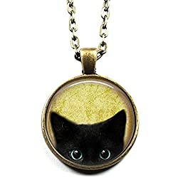 Black Cat Pattern Pendant Necklace Cute Cat Glass Dome Jewelry