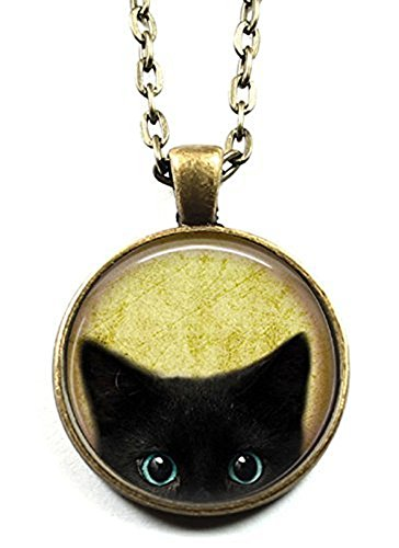 Black Cat Pattern Pendant Necklace Cute Cat Glass Dome - Glasses With Cute Cat