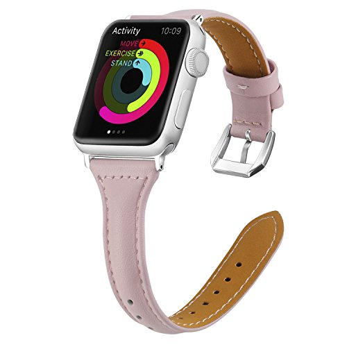 Genuine Leather for Apple Watch Band 38mm Slim Replacement Wristband Sport Strap for Iwatch Series 3 2 1, Edition, Nike+,With Stainless Steel Buckle(Pink) by Limeng