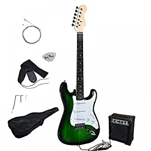 green electric guitar with amp case and accessories pack beginner starter package. Black Bedroom Furniture Sets. Home Design Ideas