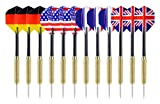 Ohuhu Steel Tip Darts with National Flag Flights, Copper Barrels and Extra Dart Rods, Multi Choice: 12, 24 Pack
