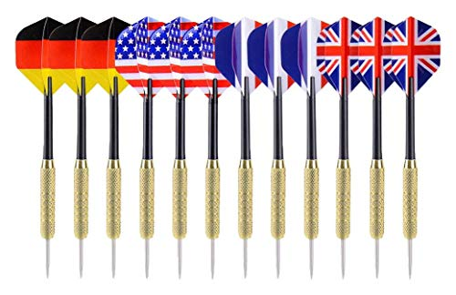 Great Deal! Ohuhu Steel Tip Darts with National Flag Flights, Copper Barrels and Extra Dart Rods, Mu...