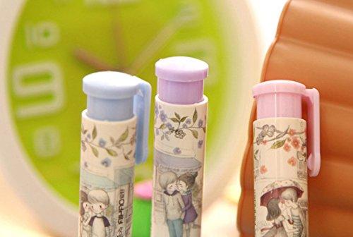 Genonaute Creative Lovely Pen Shape Hand Press Eraser Rubber