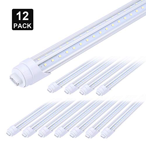 R17d Rotatable HO Base V Shaped 65W 8 Foot Led Lulbs Double Row, 7800LM,150W Fluorescent Lamp Replacement Shop Lights, Dual-Ended Power, Cold White 6000K,Clear Cover, AC 85-277V Pack of 12