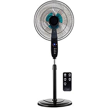 Best Choice Products Adjustable 16in Oscillating Pedestal Fan w/Timer, Double Blades, Remote Control - Black
