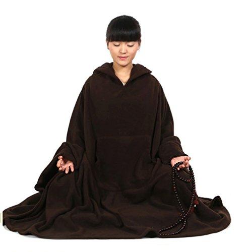 Grande Hommes À Et Bouddhiste Marron Foncé Pour De Cape Katuo Méditation Femmes Capuche qaw6qpd