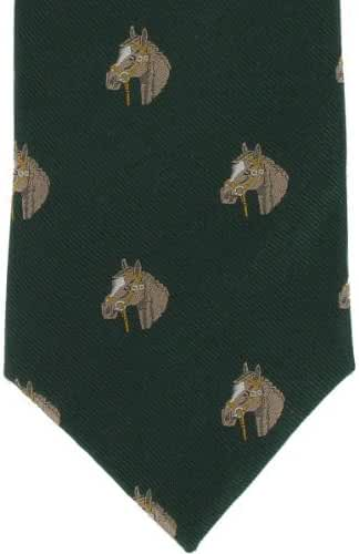 Green Horse Head Silk Tie by Michelsons of London