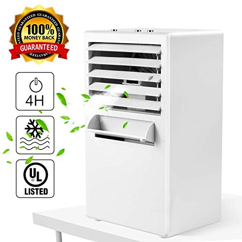 Citus Air Conditioner Fan, Desktop Small Personal Cooling Fan for Nearby Use up to 3Ft,Mini Space Air Cooler Misting Circulator Humidifier,w Gift Box,2019 Upgraded,9.5-inch White