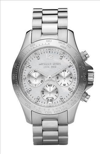 New MICHAEL KORS MK5530 Women's Small Layton Silver Tone Crystal Index Watch