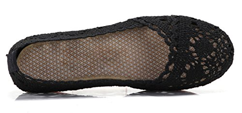Soojun Women's Soft Breathable Hollow Out Crochet Flats, US 8, Black by Soojun (Image #1)
