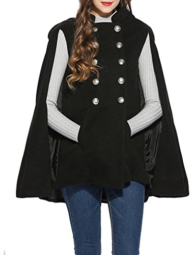 DITTMURI Women Casual Stand Collar Double Breasted Pockets Cloak Coat Outdoor Coat (Double Breasted Cloak)