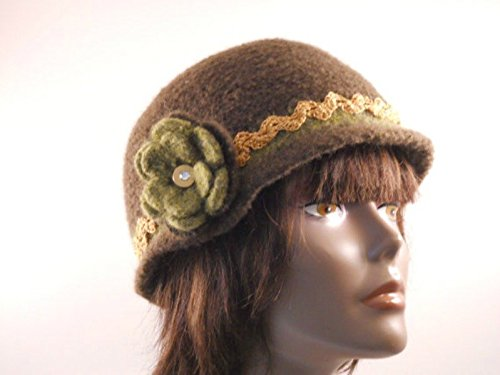Cloche Trim (Dark Green Felted Crochet Wool Cloche With Gold Trim and Flower Lined)