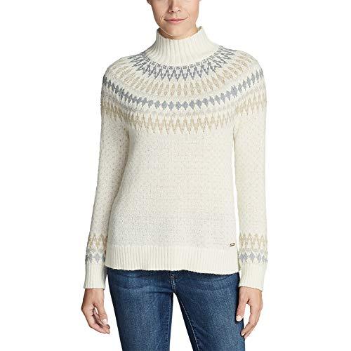 Eddie Bauer Women's Arctic Fair Isle Sweater, Arctic White Regular XL ()