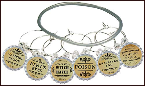 Halloween Wine Glass Charms - Witches Brew Glass Identifier Tags - Halloween Glass Markers - 6 Wine Charms/pack ()