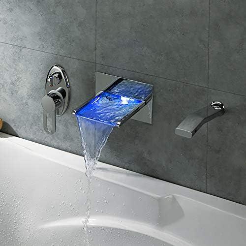 LED浴室の蛇口、現代の壁は滝LEDの色が変更マウント、浴室のシンクの蛇口クローム仕上げソリッドブラス