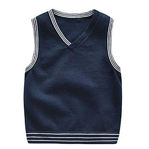 Vest V-neck Performance Sweater (Baby Boys 1-5Y Solid Color V Neck Sweater Vest Sleeveless Pullover Knitted Waistcoat navy 80)