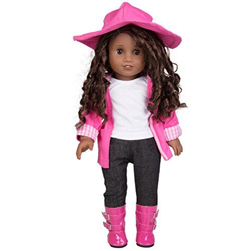 Rain Coat Doll Clothes for American Girl Dolls:- Includes Rain Jacket, Umbrella, Boots, Hat, Pants, and Shirt