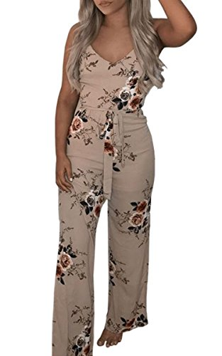 ECOWISH Womens Sexy V Neck Spaghetti Strap Floral Print Jumpsuit High Split Long Pants Rompers Khaki L