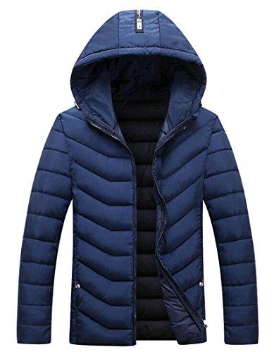 Peso Brd Puffer Invernale Mens Piumini Luce Cappuccio Blu Cappotto uk Con Calda 7HEqdwCw
