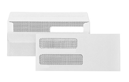 Envelopes No 10 Self Sealing (500 #10 Flip and Seal Double Window Security Envelopes-Perfect size for Multiple Business Statements, Quickbooks Invoices, and Return Envelopes -4 1/8 X 9 ½'')
