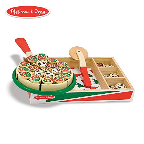(Melissa & Doug Pizza Party Wooden Play Food (Pretend Play Pizza Set, Self-Sticking Tabs, 54+ Pieces))