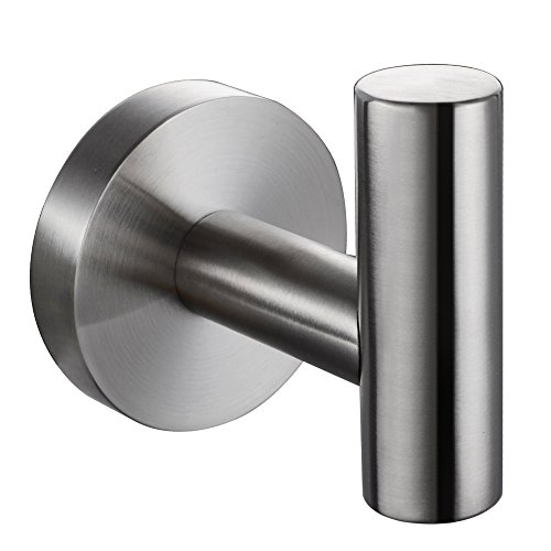 KES SUS 304 Stainless Steel Coat Hook Single Towel/Robe Clothes Hook for Bath Kitchen Garage Heavy Duty Contemporary