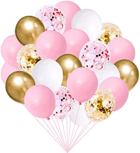 60pcs Pink Gold White Balloons Kit - Latex 12 inch Pink Gold Confetti Balloons for Birthday Baby Shower Wedding Engagement Party Valentine's Day Decorations