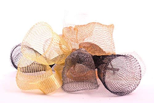 10m Ultra Fine Knitted Tarnish Resistant Artistic Craft Copper Wire Mesh Ribbon for Wrapping, Wedding Floral Designs, Accessories, Jewelry Making DIY kit (Set of 2 spools of 5 Meters Mesh) (Hematite) by Wire Fancy (Image #5)