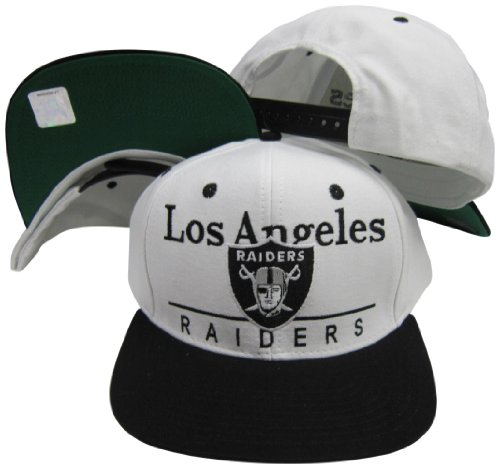 Reebok Oakland Raiders White/Black Two Tone Plastic Snapback Adjustable Plastic Snap Back Hat/Cap