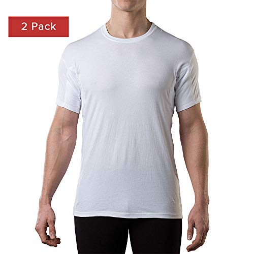 (Sweatproof Undershirt for Men w/Underarm Sweat Pads(Original Fit,Crew Neck)-2pk White)