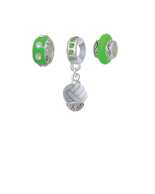 3-D Enamel Sports Ball Spinner Lime Green Charm Beads (Set of 3)