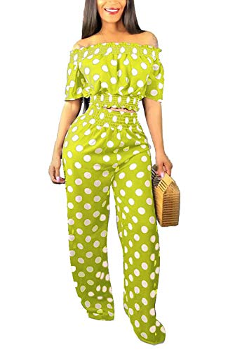 Women Sexy Short Sleeve Shirts Off Shoulder Crop Top Two Piece Outfits Polka Dot Flare Bell Bottoms Pants Set Plus Size ()