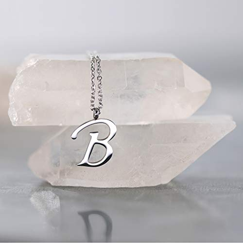 Morella Letras B Acero Y Plata Colgante Collar De Inoxidable Con qqFa4