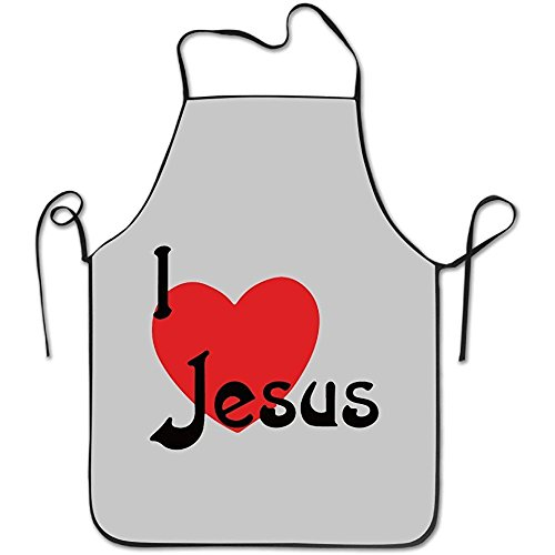 I Love Jesus Christian White Funny Unisex Barbecue Apron With Black Border - Bbq Christian Apron