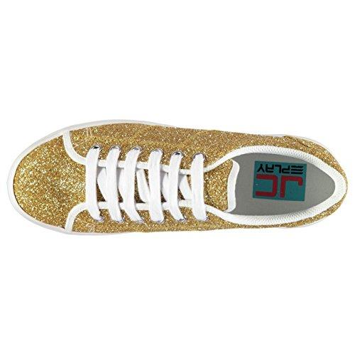 Jeffrey Campbell Play Scarpe da ginnastica/sneaker da donna zOMG, con glitter e zeppa, Colore oro