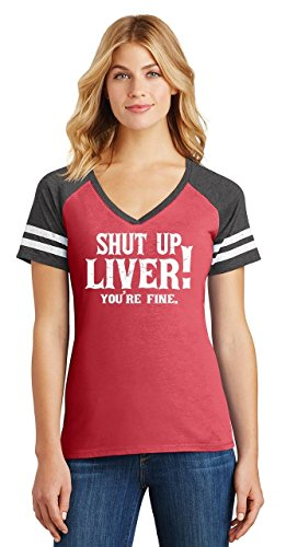 Comical Shirt Ladies Game V-Neck Tee Shut up Liver You're Fine Heathered Red/Heathered Charcoal L by Comical Shirt (Image #1)