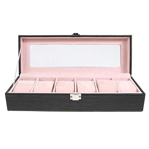 Let's dream Hot Sale 6 Grid PU Watch Box Jewelry Display Case Storage Holder Rectangle Organizer Supplies Accesories Gifts Color Black