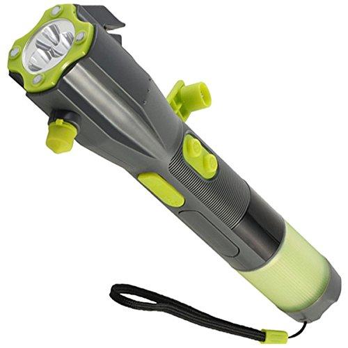 Crank Dynamo Flashlight, XLN-703B Multi-functional Flashlight Car Emergency Tool Attack Hammer Compass Magnet Safety Flashlight for Travel Camping Hiking