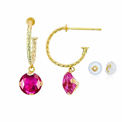 Earrings Ruby Glass (10K Yellow Gold 12mm Rope Half-Hoop with 6mm Round Glass Filled Ruby Martini Drop Earring with Silicone Back)